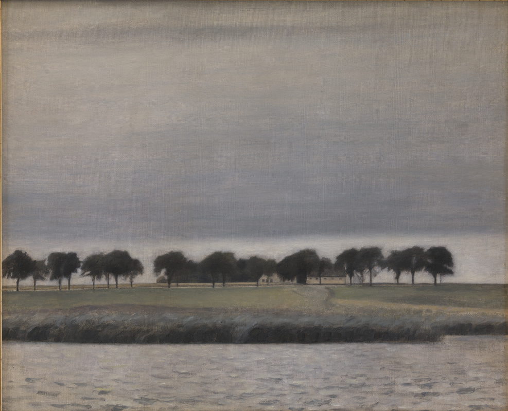 Вильгельм Хаммерсхёй. Летний дождь на озере Гентофт
