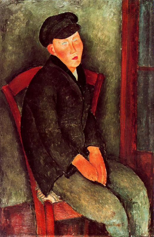 Амедео Модильяни. Сидящий мальчик в кепке
