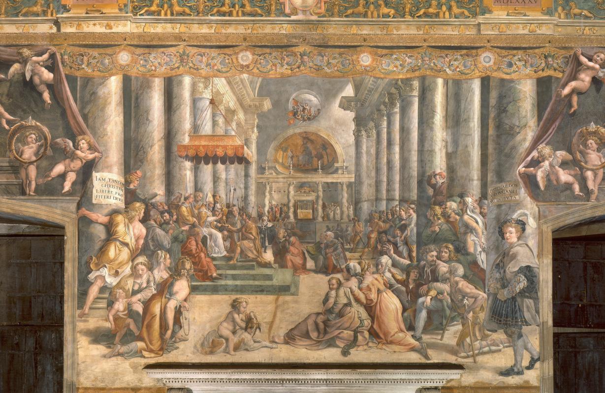 Джованни Франческо Пенни. Фреска в Зале Константина в Апостольском дворце Ватикана. Пожертвование Рима