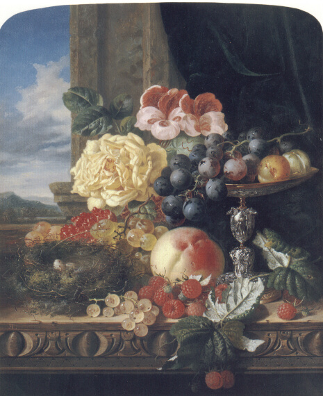 Эдвард Ладелл. Натюрморт с фруктами и цветами и гнездом птиц