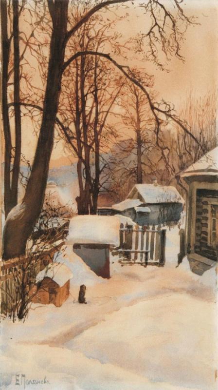 Елена Дмитриевна Поленова. На дворе зимой