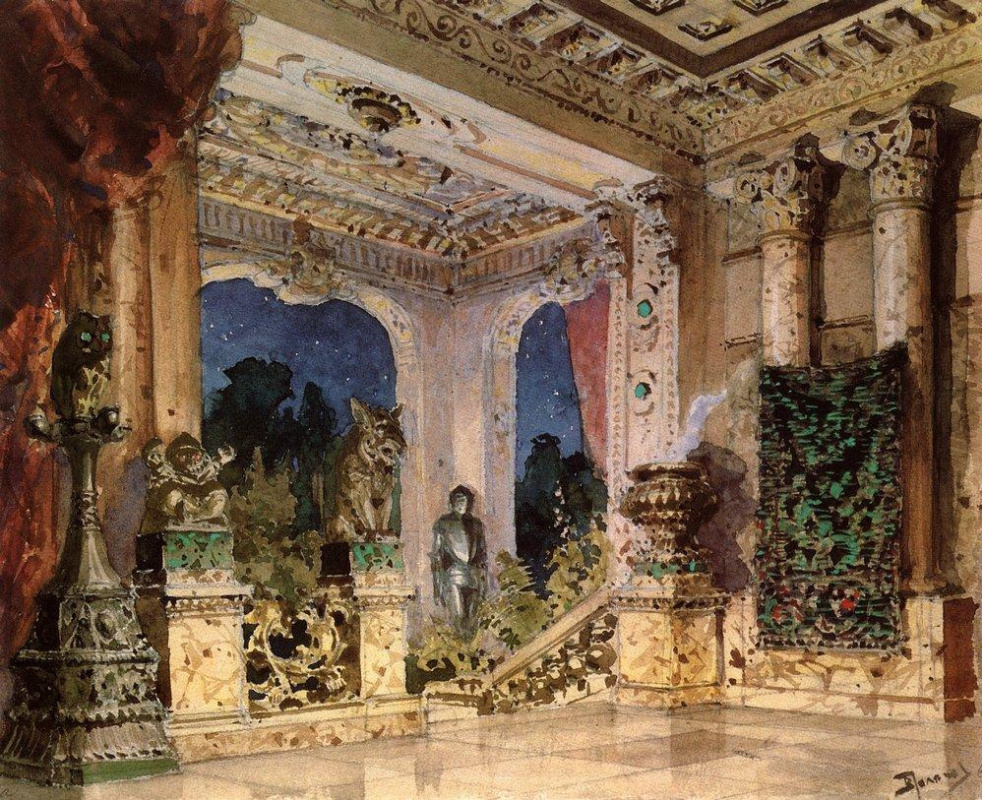 """Vasily Polenov. Hall in a magic castle. Scenery for the play """"Scarlet Rose"""""""
