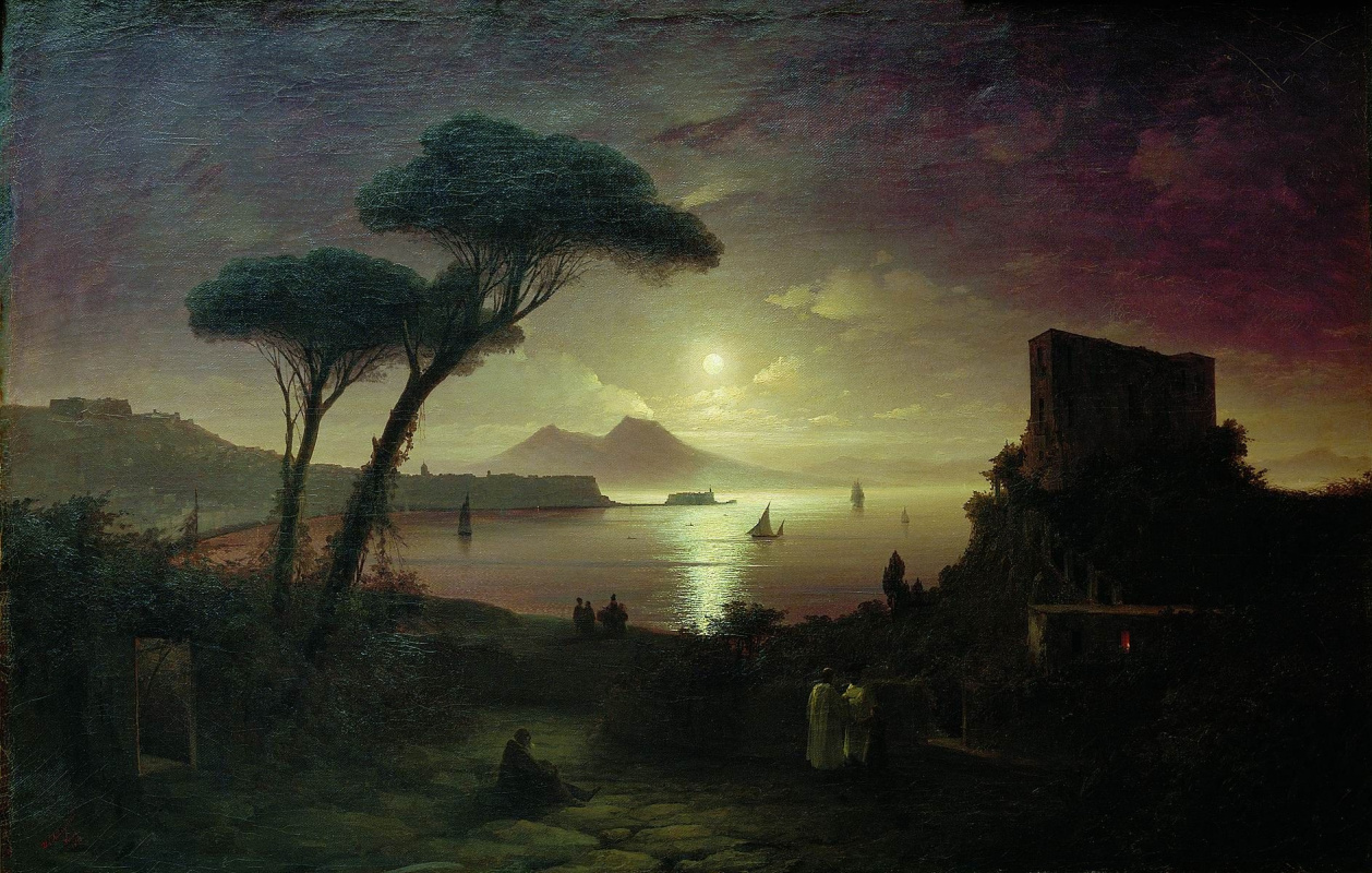 Ivan Aivazovsky. The Bay of Naples at moonlit night