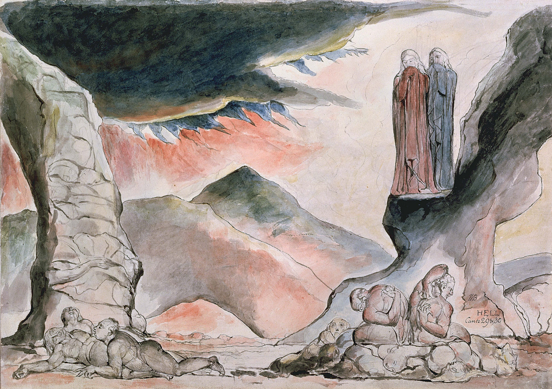 "William Blake. The pit of suffering: the counterfeiters. Illustrations for ""the divine Comedy"""