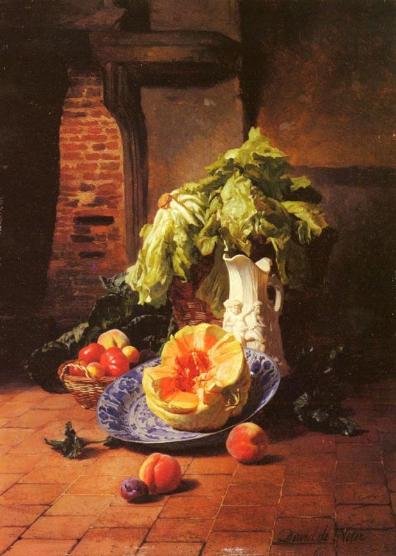Давид Эмиль Жозеф де Нотер. Натюрморт с белым фарфоровым кувшином, фруктами и овощами