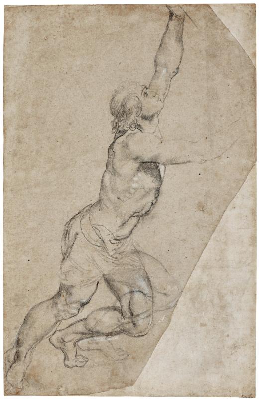 Питер Пауль Рубенс. Набросок обнажённого юноши с поднятыми руками