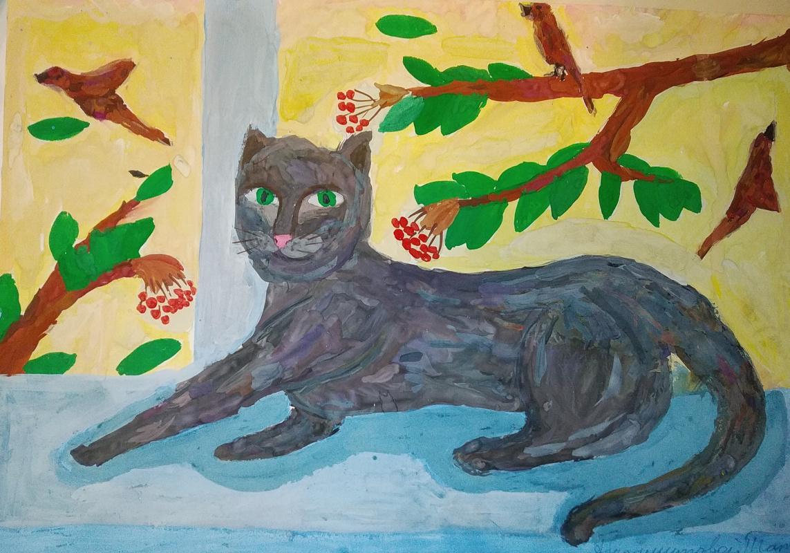Zina Vladimirovna Parisva. Cat on the window
