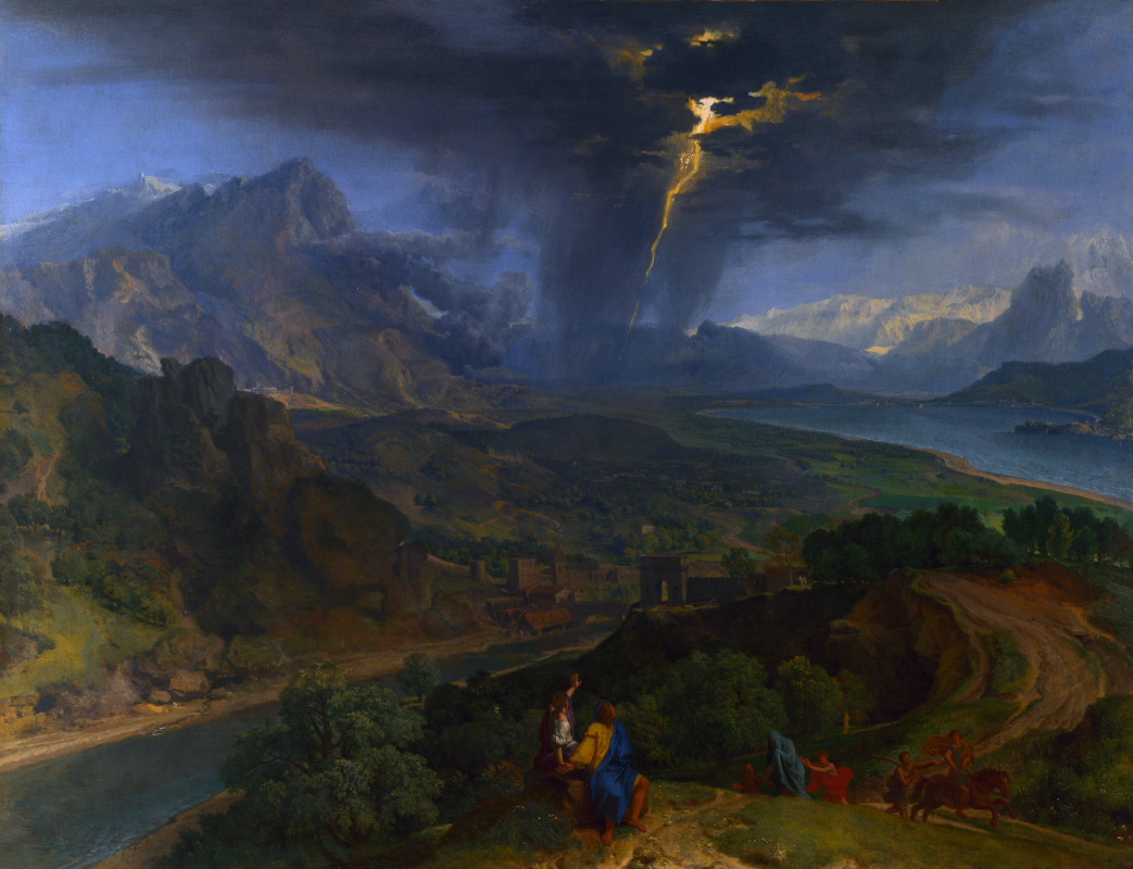 Просо Франкискуу. Горный пейзаж с молнией