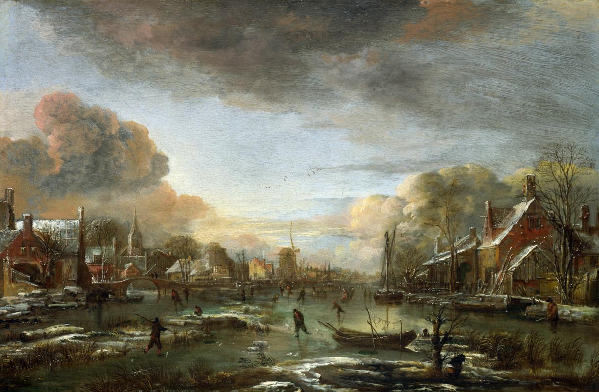 Арт ван дер Нер. Замерзшая река в городе вечером