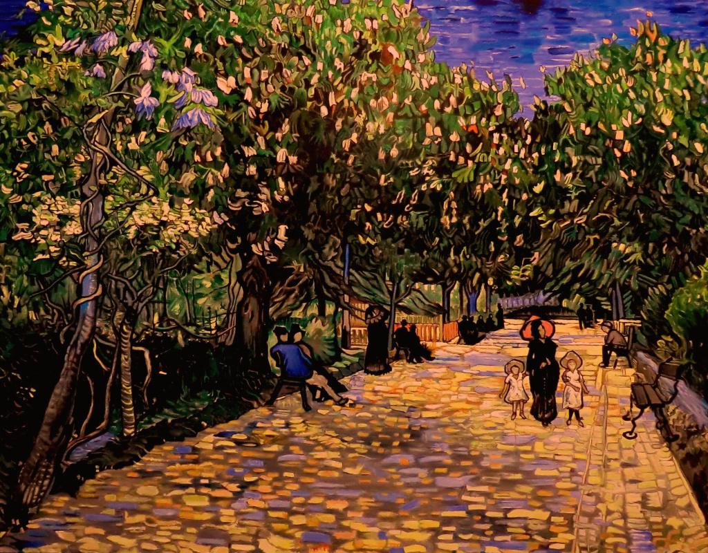Valery Vasilyevich Litvinov. Street with flowering chestnuts in Arles (cop. From Van Gogh)
