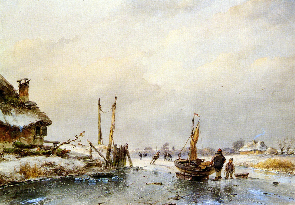 Andreas Schelfout. Winter view of the ice boats
