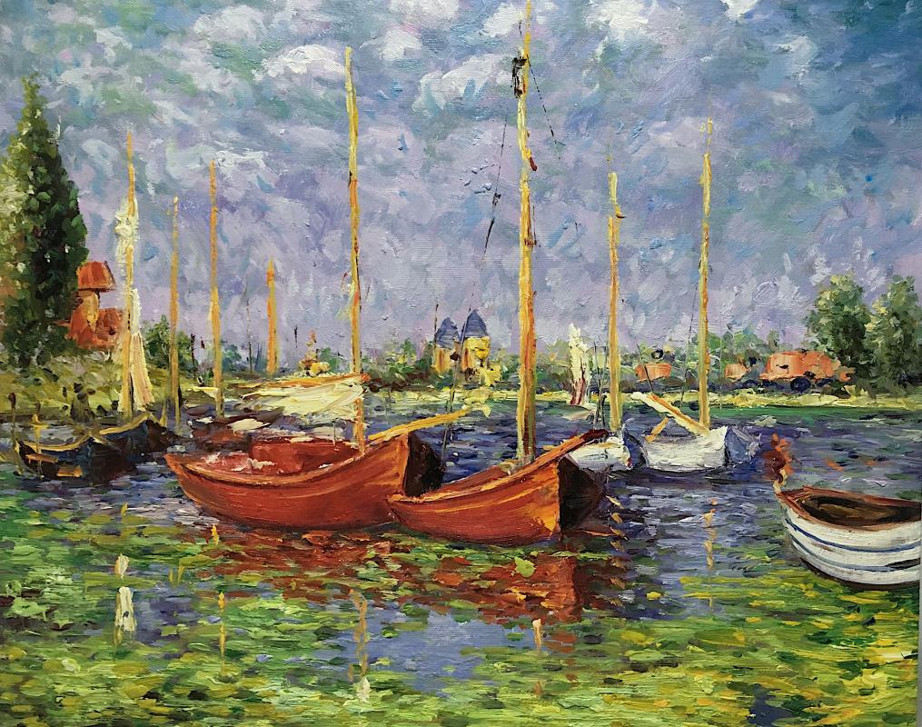 """Савелий Камский. Копия картины """"Красные лодки в Аржантее"""" (Red Boats at Argenteuil, 1875)"""