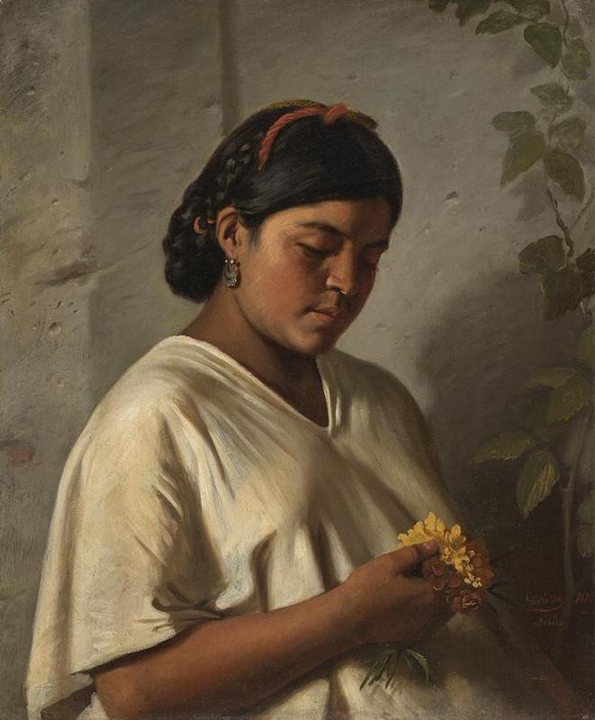 Felipe Santiago Gutiérrez. Woman with marigolds