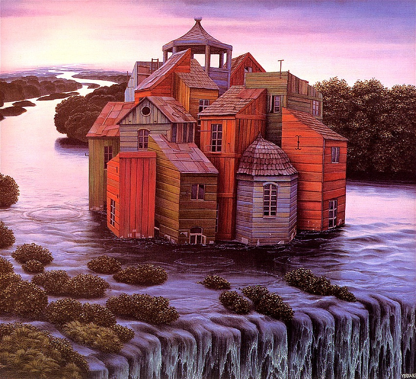 Jacek Yerka. House over the waterfall
