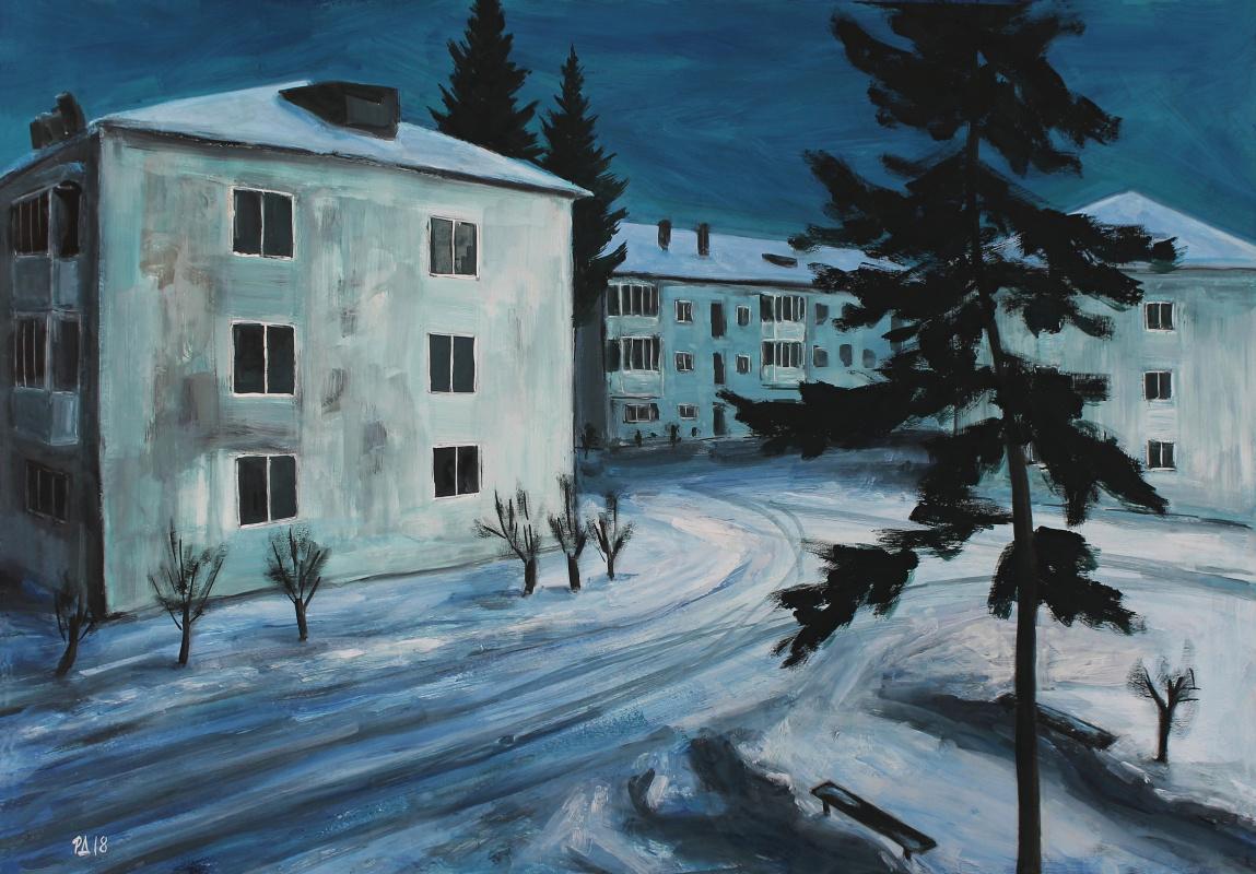 Denis Grigorievich Rusakov. Sky, night, three white house