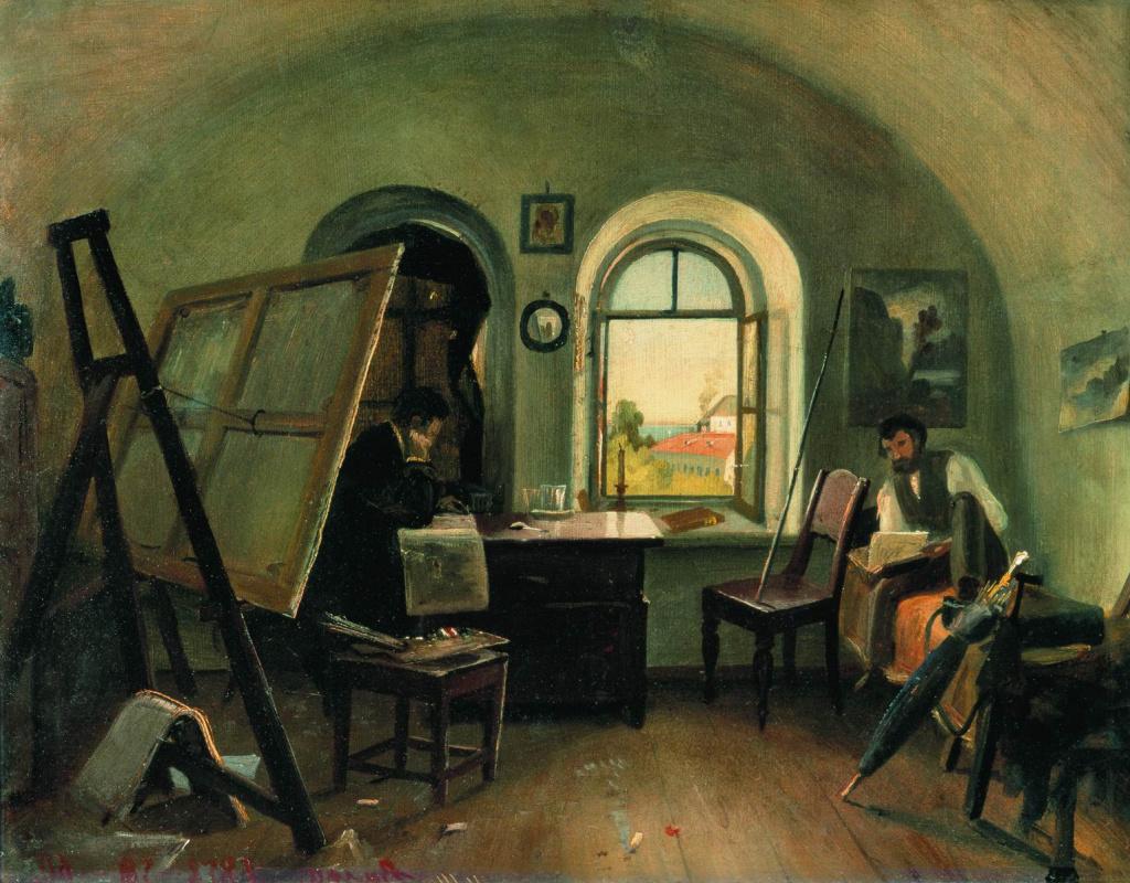 Ivan Shishkin. Workshop on the island of Valaam (sketch)