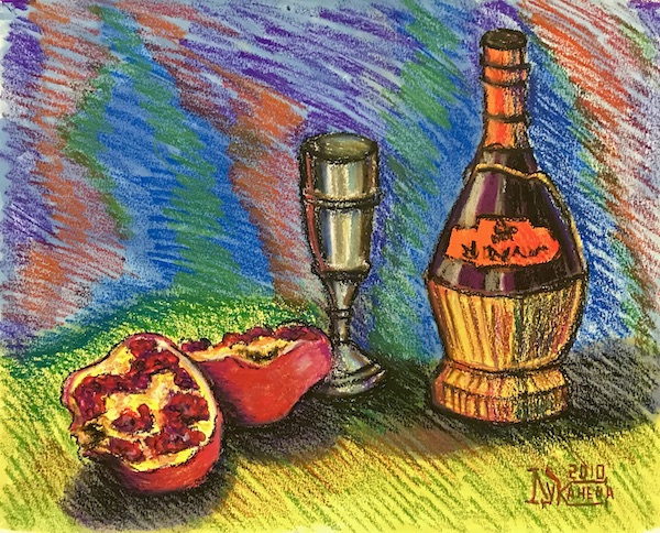 Larissa Lukaneva. Still life with pomegranate and red wine