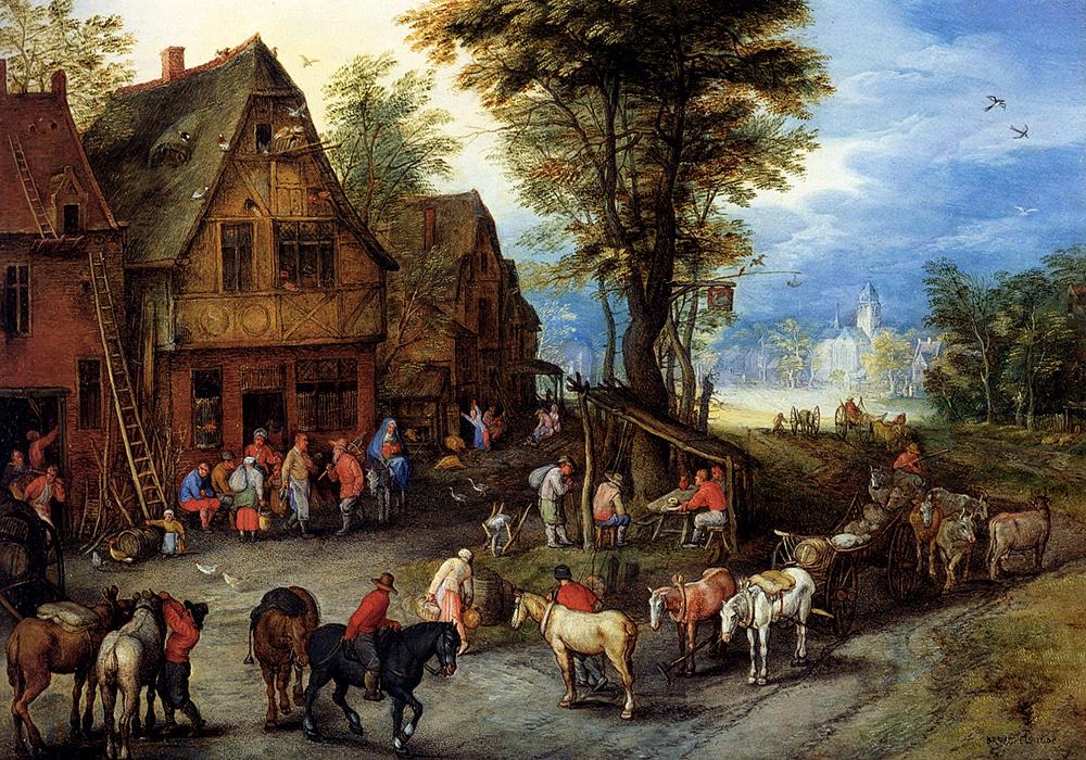 Ян Брейгель Старший. Деревенская улица со святым семейством, приехавшим в гостиницу