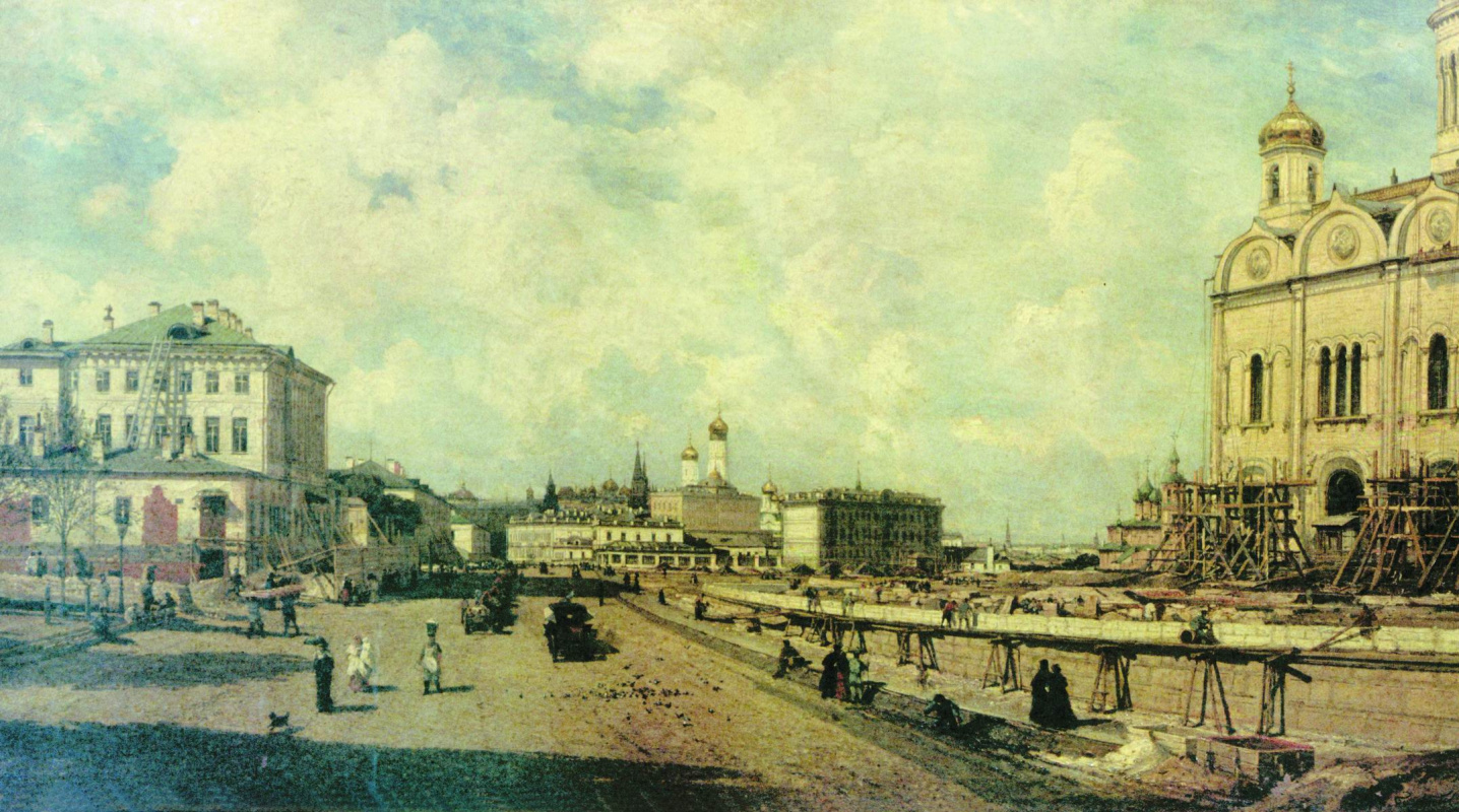 Alexey Petrovich Bogolyubov. View of the Cathedral of Christ the Savior from Prechistenka in Moscow