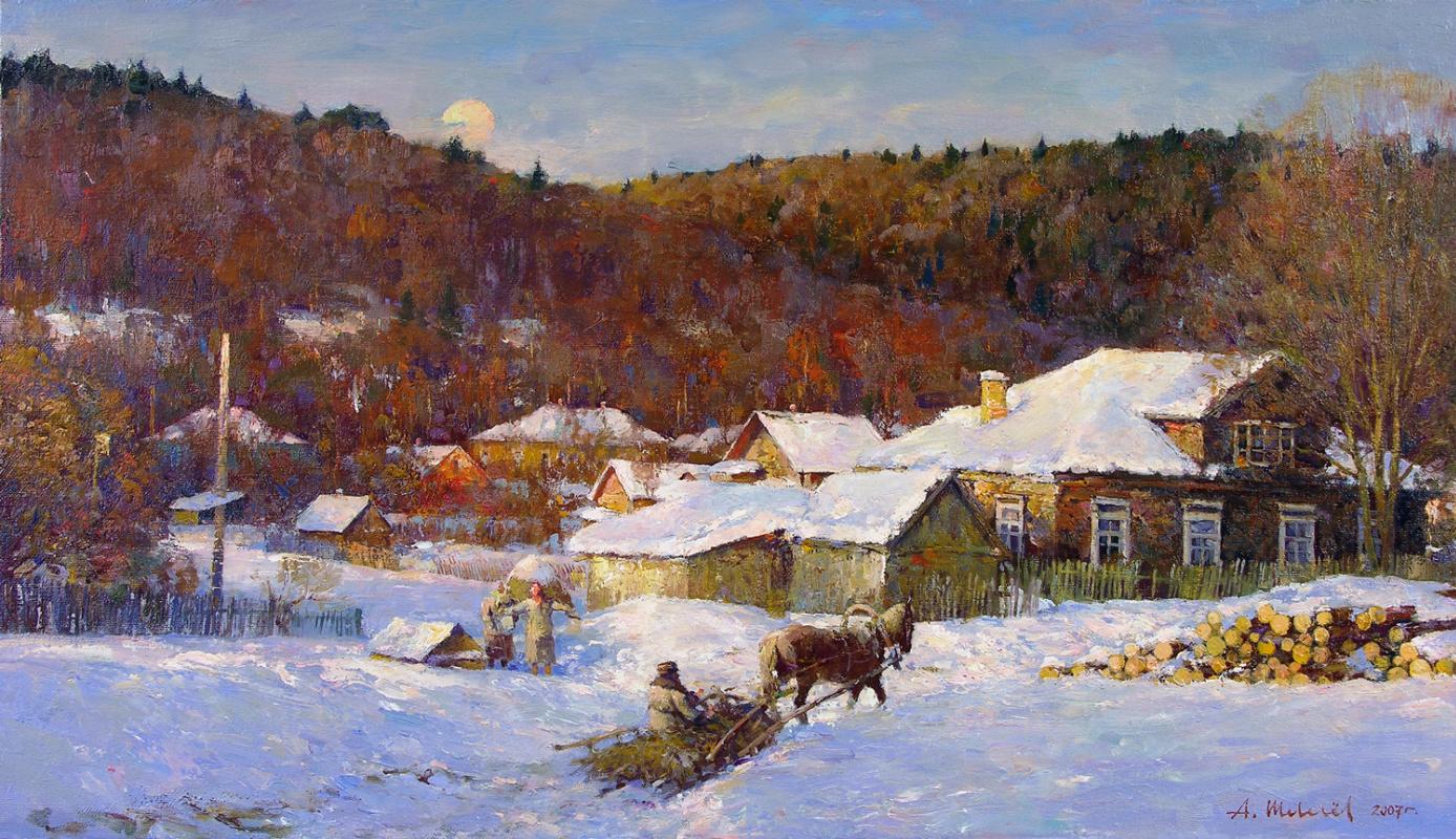 Alexander Shevelyov. Winter evening. oil on canvas 40 x 70 cm. 2007
