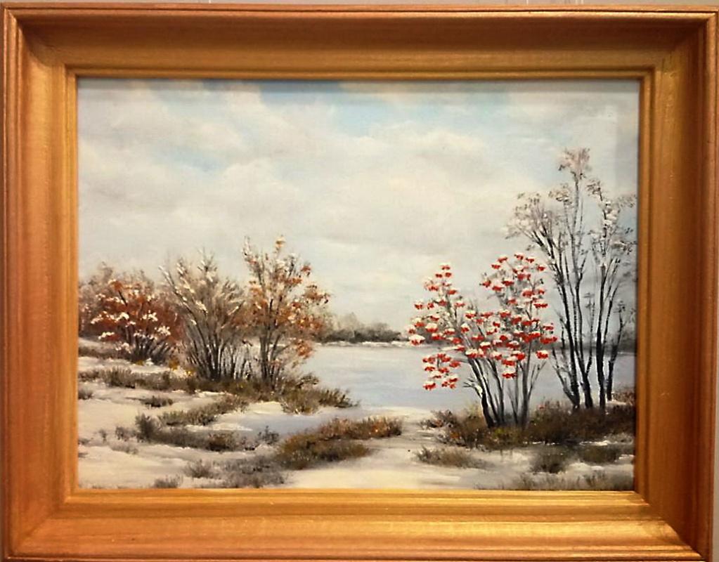 Ольга Болеславовна Горпинченко. Guelder-rose under snow on the river bank