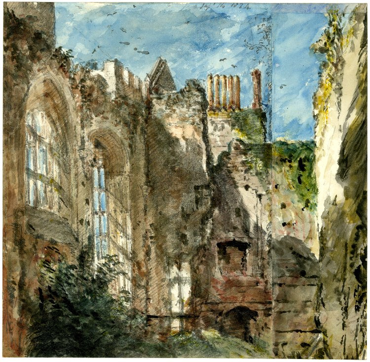 John Constable. Cowdray house and a view of the room with large arched Windows