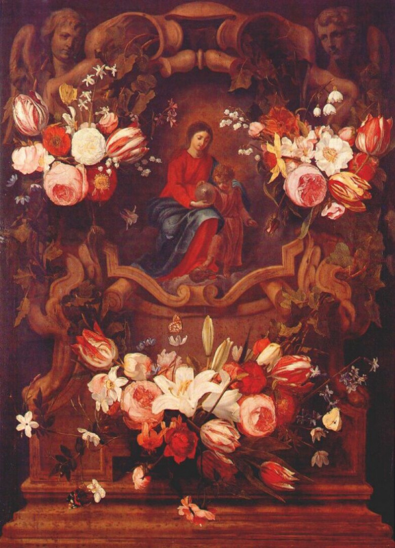 Цветочный венок с Мадонной и младенцем