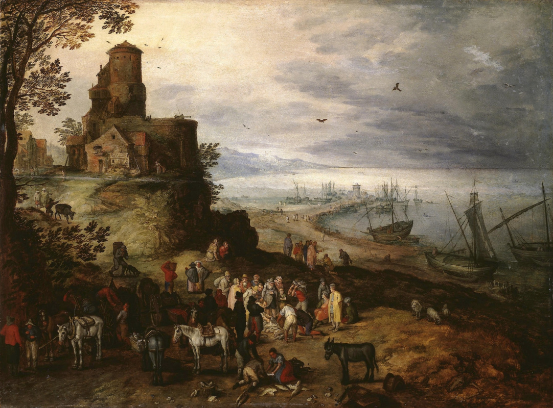 Jan Bruegel The Elder. Fish Market. (The vocation of the apostles Peter and Andrew) Around 1608