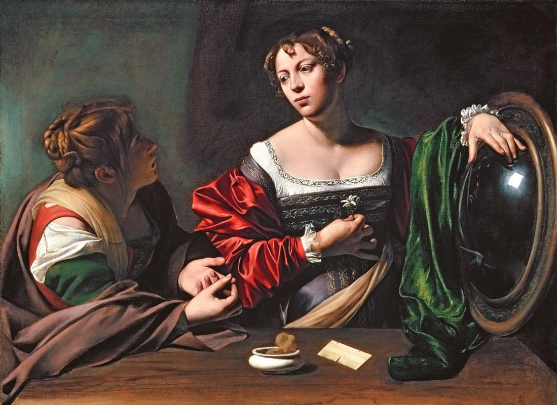 Микеланджело Меризи де Караваджо. Марфа и Мария Магдалина