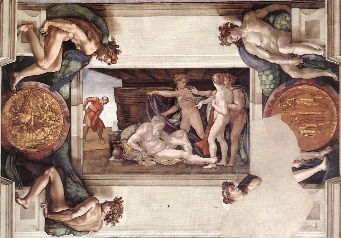 Микеланджело Буонарроти. Потолок Сикстинской капеллы. Фрагмент. Опьянение Ноя.