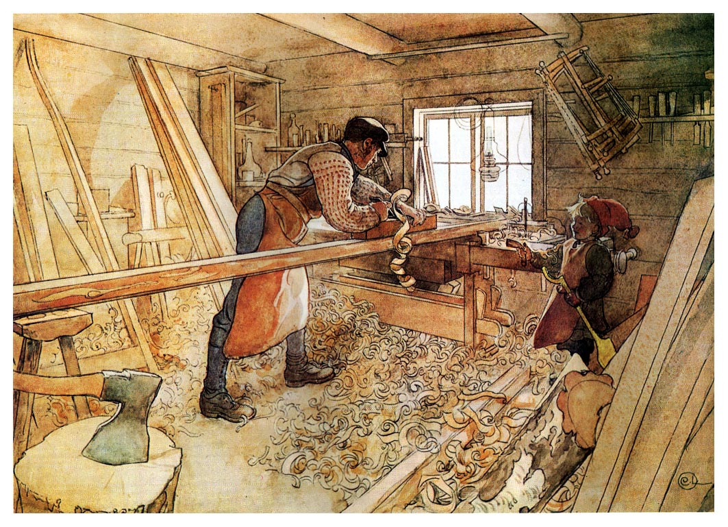 Carl Larsson. In the carpentry workshop
