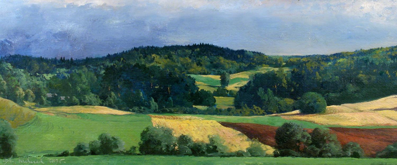 Alexander Shevelyov. Fields. Oil on cardboard 20.3 x 49.5 cm. 2003