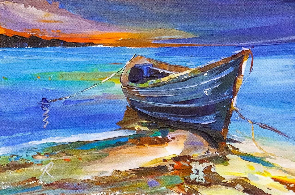 Jose Rodriguez. Blue boat on the ocean
