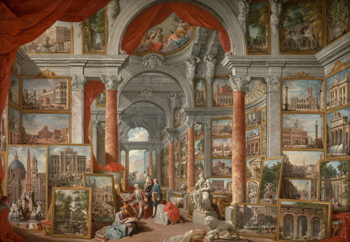 Gallery with views of modern Rome