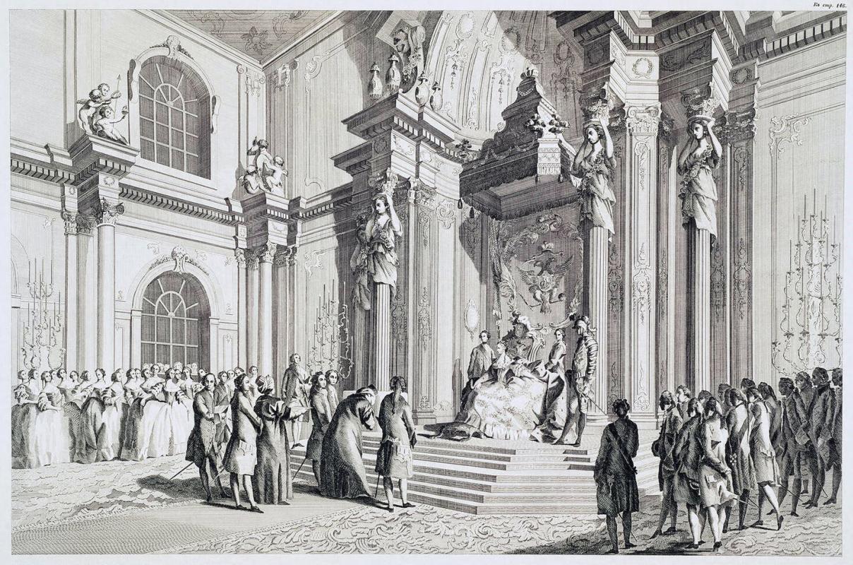 Александр Иванович Дмитриев. Прием Екатериной II турецкого посольства в Зимнем дворце 14 октября 1764 г