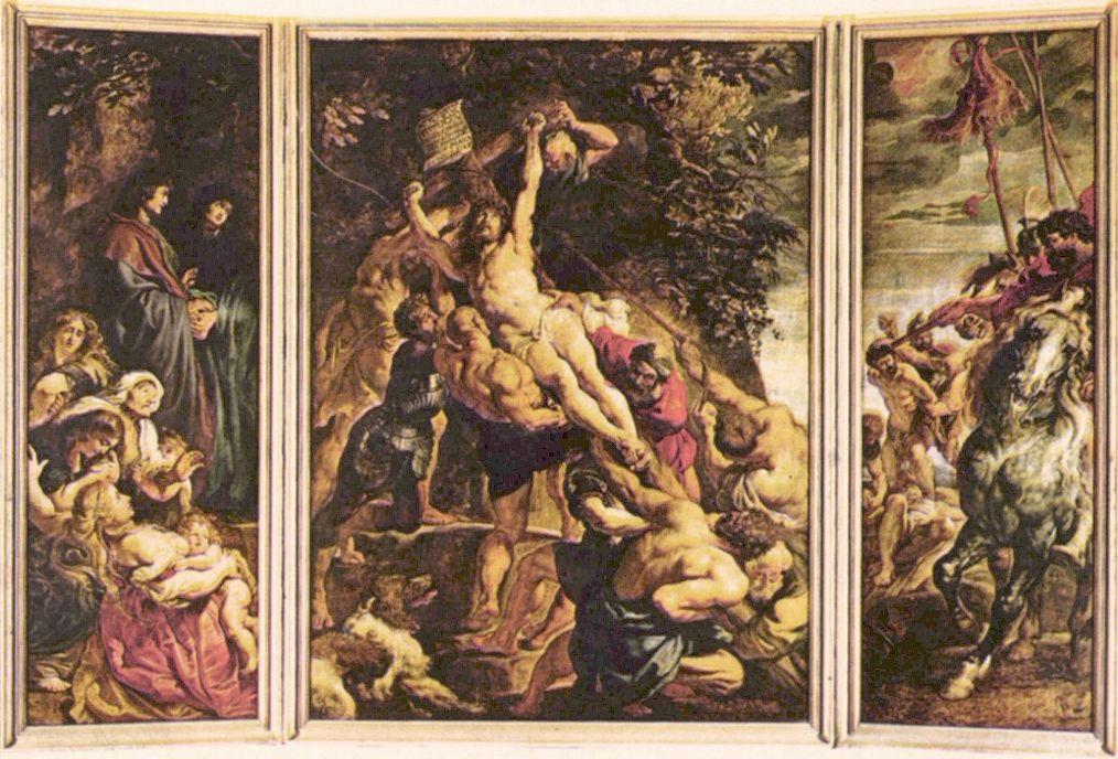 Питер Пауль Рубенс. Возведение Креста, триптих, общий вид, сцена слева: Мария и св. Иоанн, Установка креста солдатами