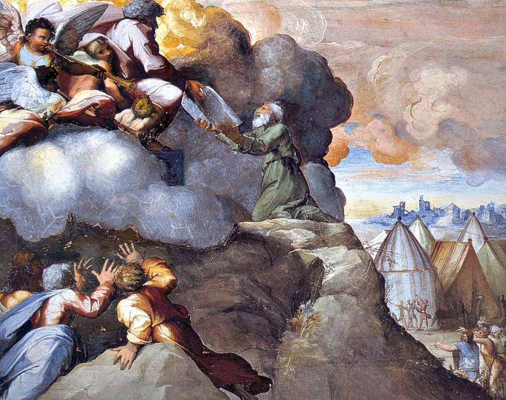 Raphael Sanzio. Moses receiving the tablets of the Covenant. The fresco of Raphael loggias of the Palace of the Pope in the Vatican