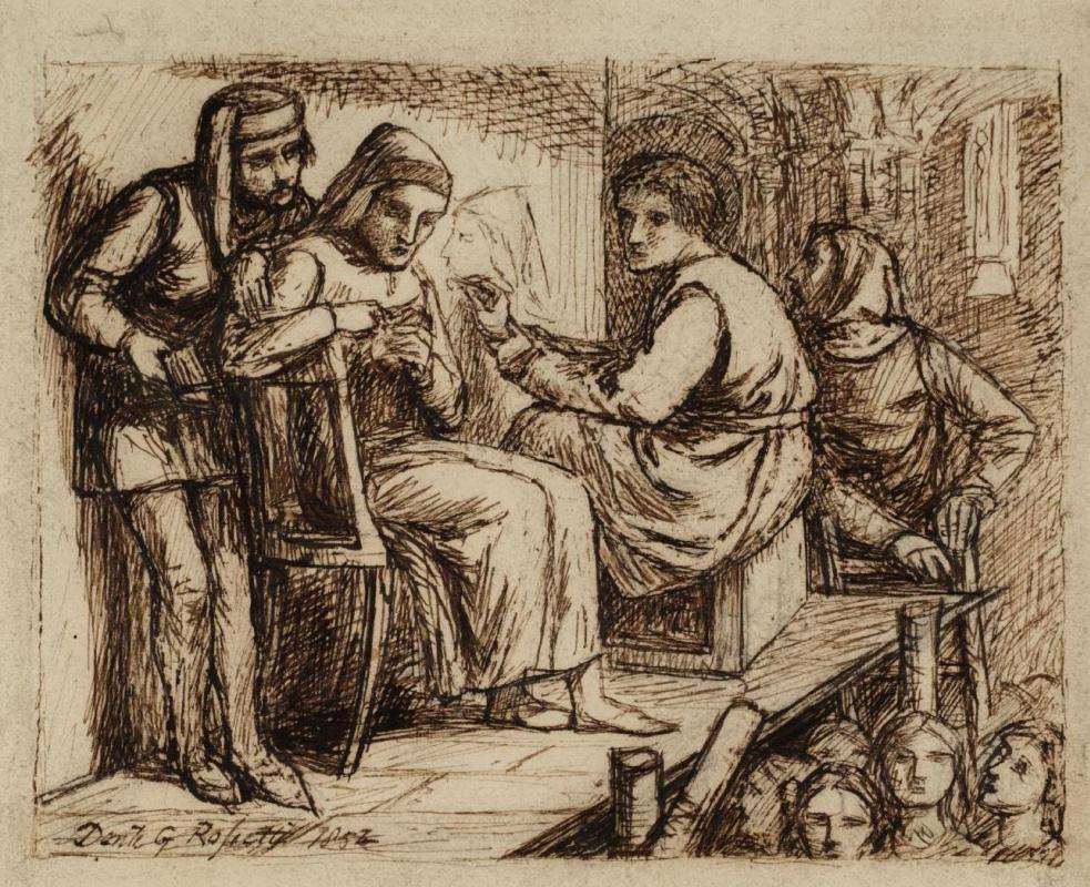 Данте Габриэль Россетти. Джотто рисует портрет Данте. Эскиз