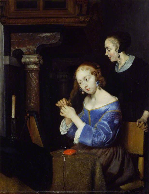 Gerard Terborch (ter Borch). Young woman behind the toilet