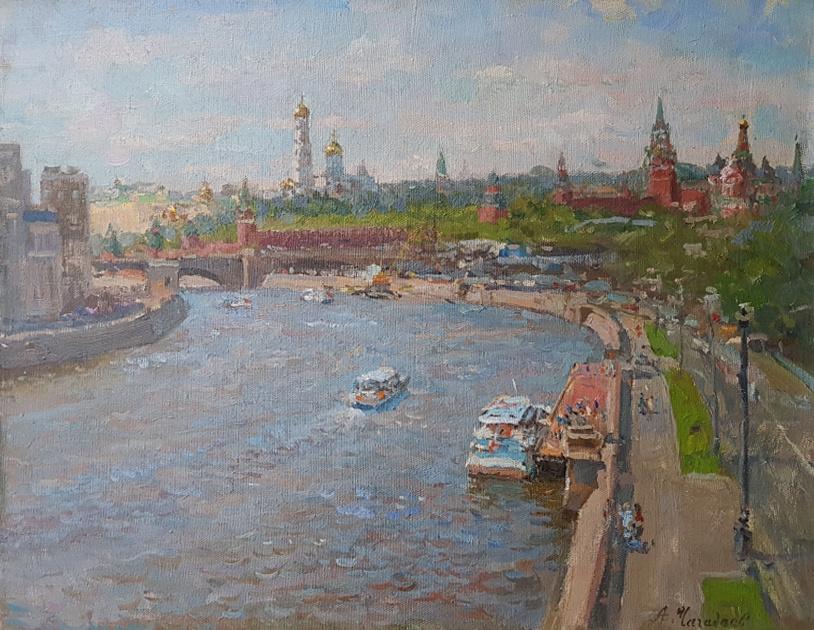 Aleksandr Chagadaev. View of Moscow from the big Ustinsky bridge