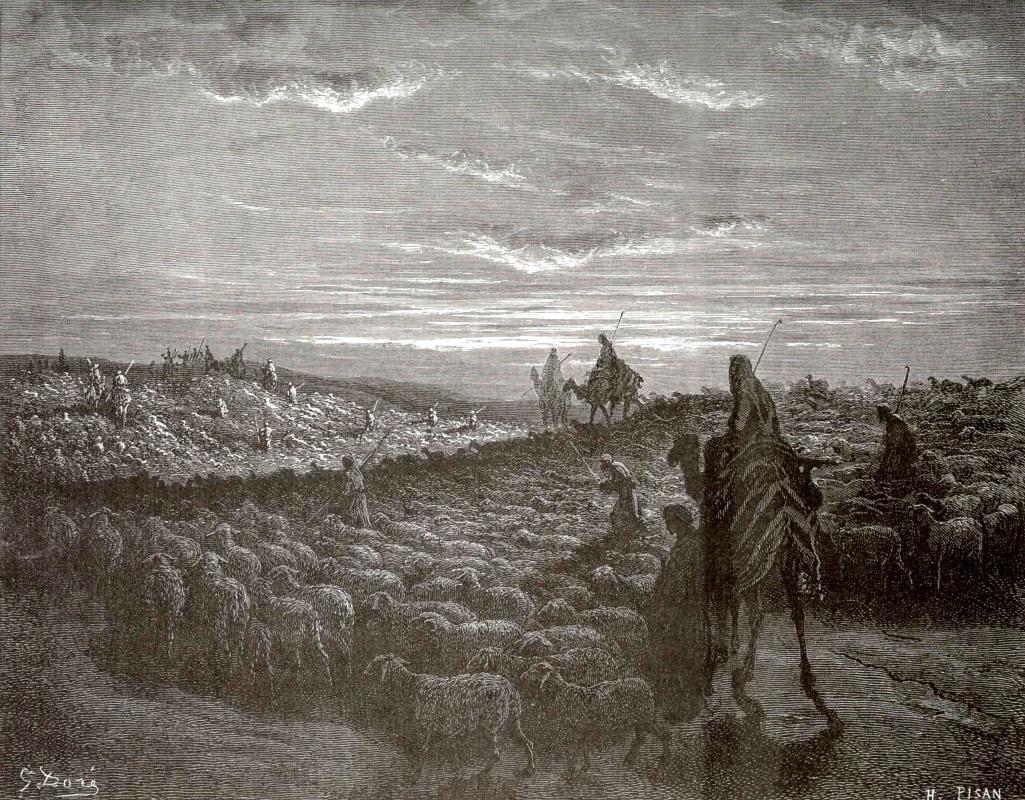 Поль Гюстав Доре. Иллюстрации к Библии: Авраам переселяется в землю Ханаанскую