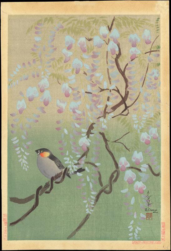 Baku Ono. Finch and Wisteria