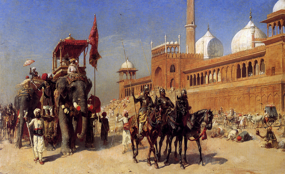 Edwin Lord Weeks. Great Mogul and his Priblizhennoe returning from the Great Mosque in Delhi, India