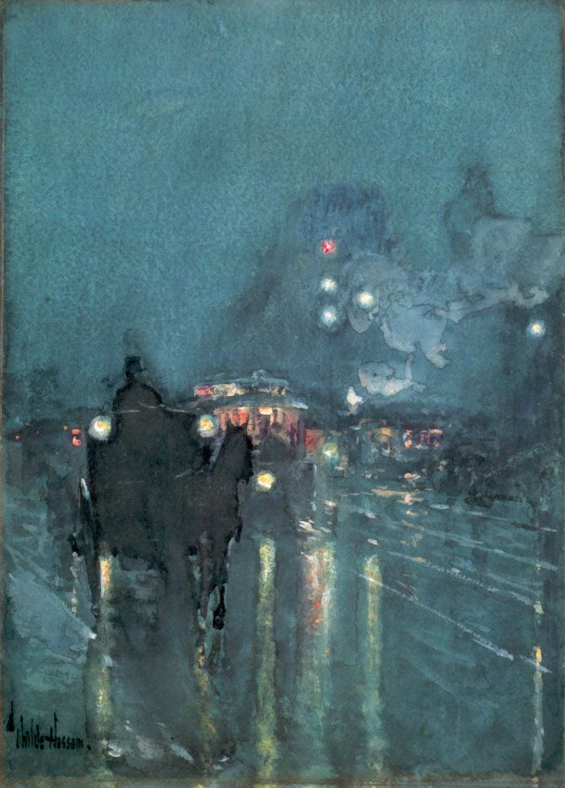Childe Hassam. Nocturne, railway crossing, Chicago