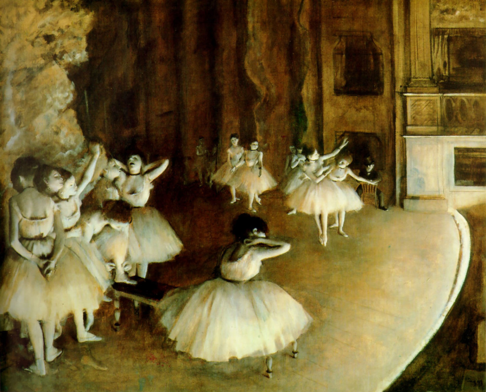 Эдгар Дега. Генеральная репетиция балета на сцене