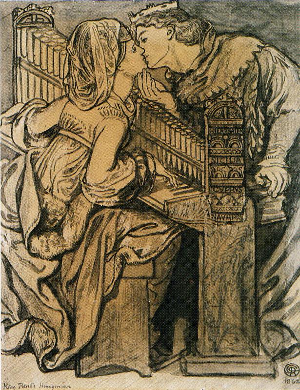 Данте Габриэль Россетти. Медовый месяц в кабинете короля Рене (Музыка). Эскиз