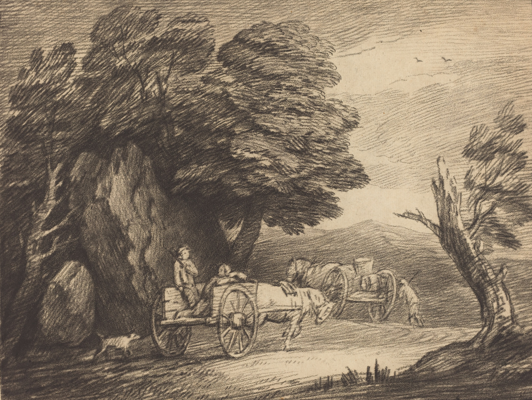 Thomas Gainsborough. Forest landscape with two carts