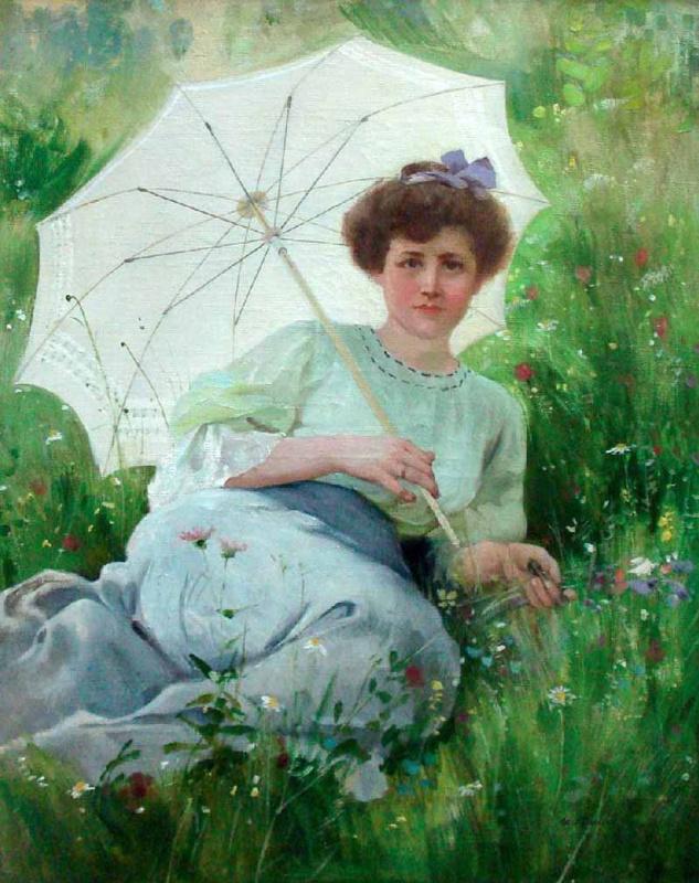 Илья Саввич Галкин. Девушка с зонтиком. 1907