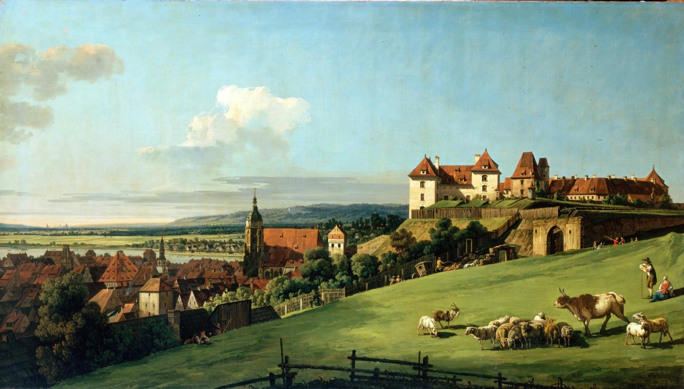 Бернардо Беллотто. Вид на г. Пирна с замка Зонненштайн