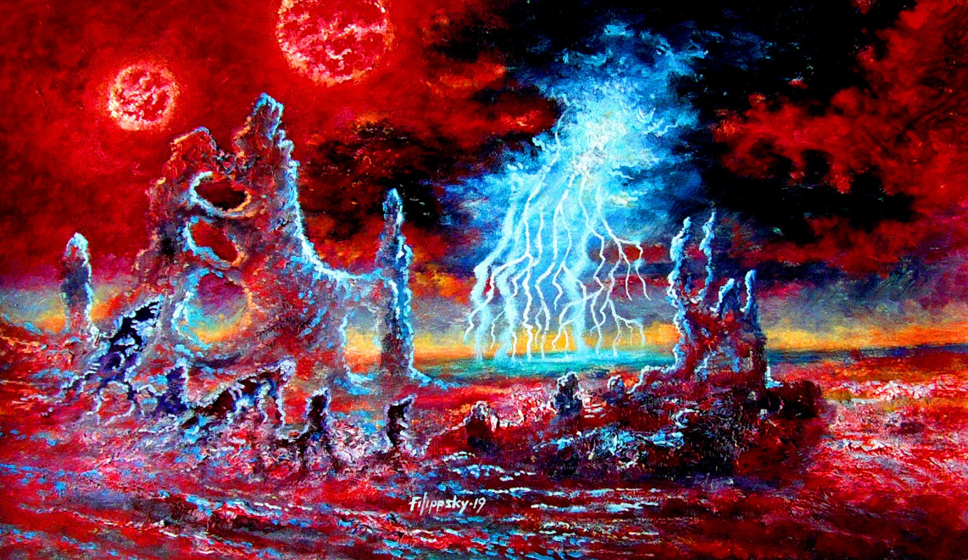 Victor Philippi. Thunderstorm on the planet of the double red sun.